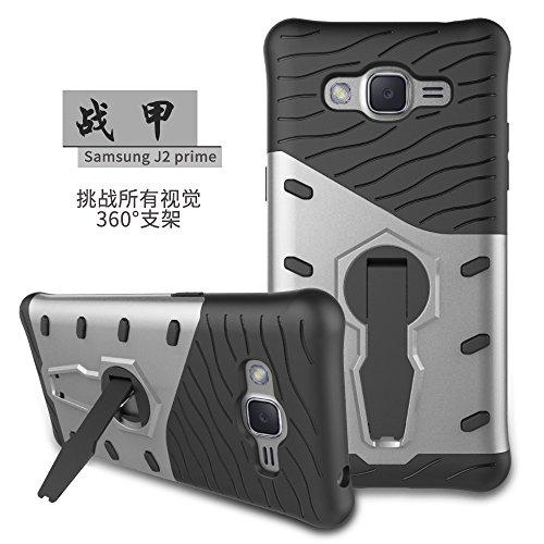 YHUISEN Galaxy J2 Prime Case, Hybrid Tough Rugged Dual Layer Rüstung Schild Schützende Shockproof mit 360 Grad Einstellung Kickstand Case Cover für Samsung Galaxy J2 Prime / Grand Prime Plus ( Color : Silver