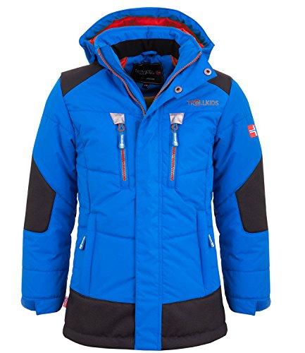 Trollkids Kinder gefütterter wasserdichter Winter-Parka, Ski- und Schneejacke Narvik, Mittelblau / Rot, Größe 152