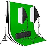 Amzdeal Photo Studio Kit d'Éclairage Complet, 3 Toile de Fond en 100% Coton (3*1.6m Noir/Blanc/Vert)+2 Softbox (50*70cm)+2* 135W Ampoule E27 5500K+ Support Fond (2*3m) en Aluminium+ Sac de Transport