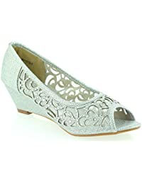 977ab446a AARZ LONDON Women Ladies Evening Wedding Party Peeptoe Diamante Low Wedge  Heel Sandals Shoes Size