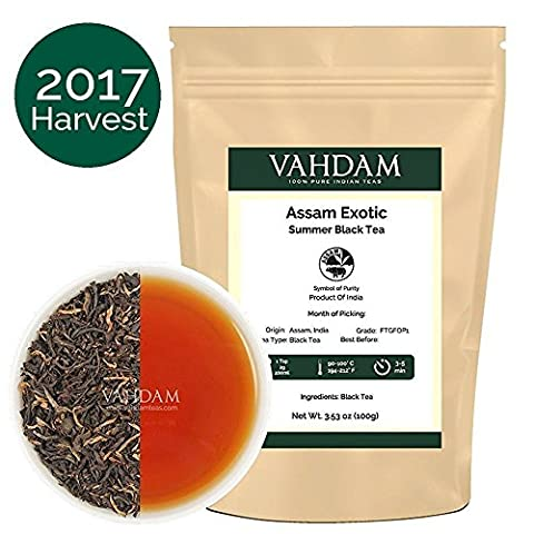 Exotic Assam Tea Leaves with Imperial Golden Tips, Harvest, Black Tea - Malty, Rich & Flavoury (50 Cups), Loose Leaf Tea , Perfect English Breakfast Tea, 100% Certified Pure Assam Tea, 100gm