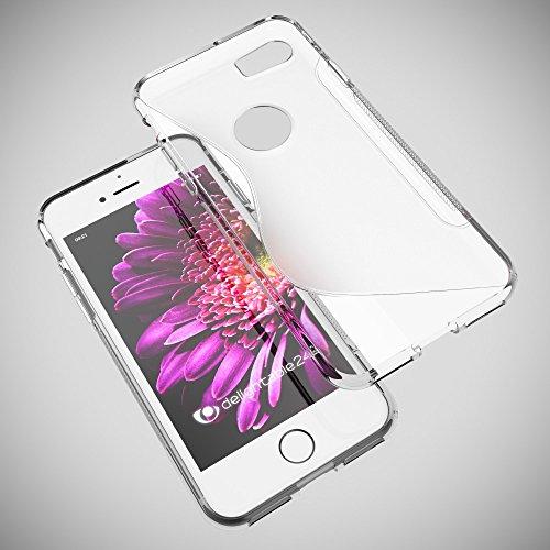 iPhone 8 / 7 Coque Protection de NICA, Housse Silicone Portable Mince Souple, Tele-phone Case Cover Premium Ultra-Fine Resistante Gel Slim Bumper Etui pour Apple iPhone 7 / 8 - S-Line Noir S-Line Transparent