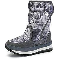 Zapatos Invierno Mujer Botas De Nieve,La Versión Coreana De Velcro Impresión Hoja Tubo Medio Espesar Cálido Confortable Piso Suave Algodón Botas Botines Exterior Antideslizante Resistente Al Desg