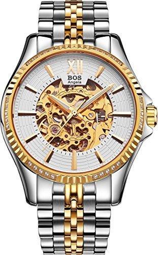 BOS Cadran Noir Case Skeleton mécanique bande en acier inoxydable bracelet étanche Montre Homme (White Gold)