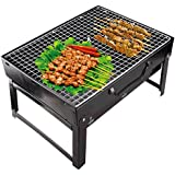 Maharaj Mall Carbon Steel Folding Portable Outdoor Barbeque Charcoal Grill Oven (Black, MM387)