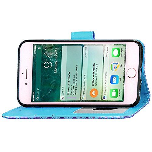 Apple iPhone 6 Plus/6S Plus 5.5 Coque, Voguecase Étui en cuir synthétique chic avec fonction support pratique pour Apple iPhone 6 Plus/6S Plus 5.5 (léopard-Jaune)de Gratuit stylet l'écran aléatoire un léopard-Bleu