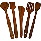 [Sponsored Products]Best Kitchen Cooking Tool Utensils Product Handmade Wooden Serving And Cooking Spoon Kitchen Utensil Set Of 5