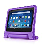 TNP Shock Proof Case for All New Fire HD 8 Tablet (7th Gen, 2017 Release) - For Kid Friendly Child Proof Anti Slip Impact Drop Light Weight Convertible Handle Stand Cover Protective Case (Purple)