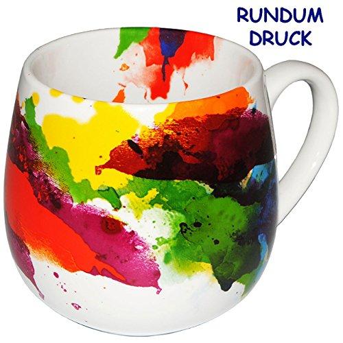 alles-meine.de GmbH 2 Stück _ Henkeltassen -  Bunte Design Farbe / on Colour Flow  - groß - 420 ml - Porzellan / Keramik - Erwachsene & Kindertasse - Farbmix - Kaffeetasse - Tr..