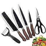 Edelstahl Küchenmesser Set Messer mit Holzmaserung 6-teiliges scharfes Profi-Messerset...