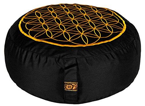 yogabox Coussin de méditation - motif fleur de vie brodé, noir