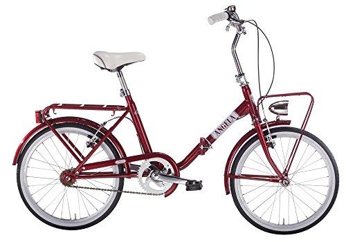 mbm a n g e l a, bici pieghevole unisex - adulto, rosso a20, 20