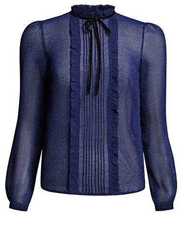 oodji Ultra Damen Chiffon-Bluse mit Rüschen, Blau, DE 40/EU 42/L (Knopf-manschette Rüschen - Bluse)