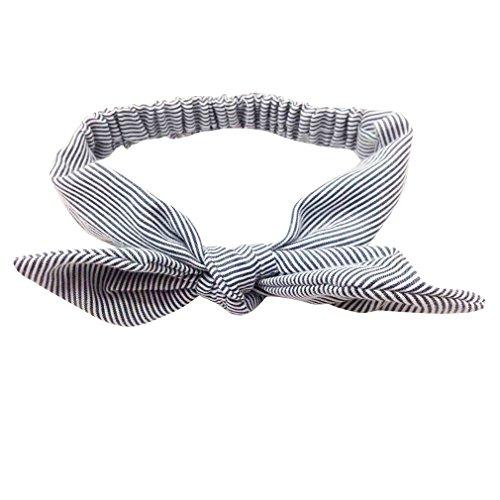Yazilind Nettes Zubehör-Kaninchen-Ohren-Stirnband mit Elastischem gesponnenem T/C Haar-Band Reizender Baby-Kopf-Wickel-Schwarz-Streifen