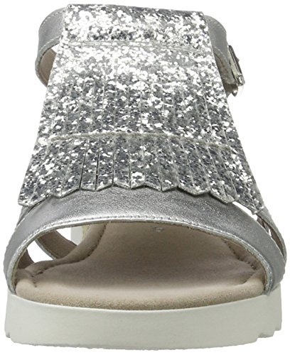 Gabor Damen Comfort-62.715 Offene Sandalen Silber (silber (Jute) 11)