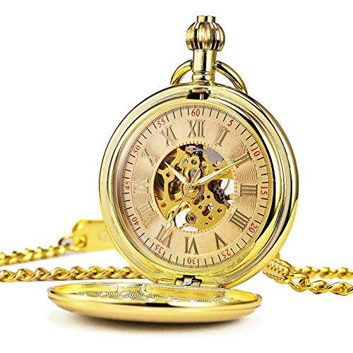 TREEWETO taschenuhr mit kette herren gold retro handaufzug taschenuhren mechanische uhr römische ziffern glatt gehäuse