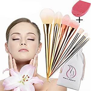 Start Makers Pennelli trucco - 8 pezzi pennelli make up professionali - kabuki spazzole trucco - vero lusso occhi & viso trucco - trucchi make up - spazzole morbide cosmetici - rosa brush cleaner