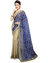 Aarti Sarees Half & Half Women's Lycra Party Wear Royal Blue & Golden Saree Designer Saree Colllection Latest...