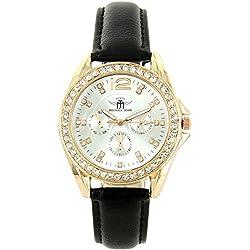Michael John Damen Damen-Armbanduhr und Leder schwarz Diamanten CZ Michael John 1388