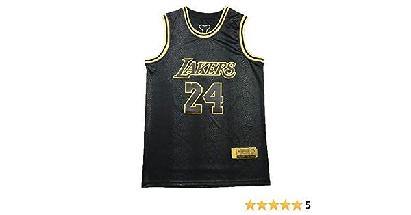 XYFF Men /'s Basketball Jersey-Bryant- Los Angeles Lakers # 24 Jersey Mamba Black Gold Edition 100/% Polyester-C-XS Embroidered Mesh Basketball Swingman Jersey