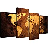 Canvas Pictures of a World Map in Brown and Tan for your Bedroom - Large Vintage Wall Art - 4188 - Wallfillers®