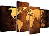 Canvas Pictures of a World Map in Brown and Tan for your Bedroom - Large Vintage Wall Art - 4188 - Wallfillers® by Wallfillers Canvas
