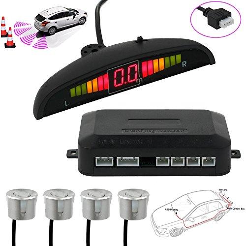 AUTOUTLET Einparkhilfe Parksensoren PDC Rückfahrwarner 4 Sensoren Universal Auto Rückwärtsparkhilfe Rückwärtsgang Audio Buzzer Alarm Kit LCD Display Silber DC 12 V