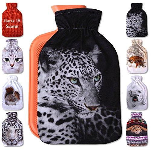 Wärmflaschenbezug 2L, mit und ohne Wärmflasche 2 Liter, Auswahl: Leopard, ohne Wärmflasche