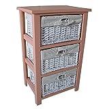 NEG Korbregal AURI (rosa) Schubladenschrank/Kommodenschrank aus Echtholz mit Korbgeflecht und Baumwoll-Einlage
