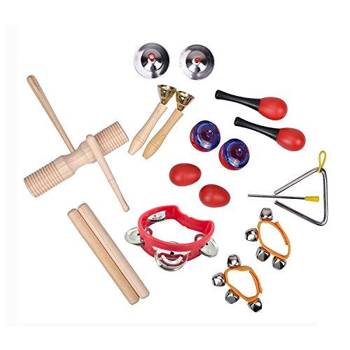 TSLIKANDO(TM) Musical Instruments Rhythm Toys Set for kids-Percussion & Rhythm Maracas Band Play Musical Toys for Baby Children & Toddlers - Set of 10 Kinds by TSLIKANDO