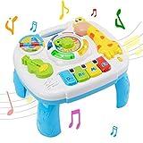 Musikalische Aktivität Tisch Baby Spielzeug - WISHTIME Lachen & Spaß Elektronische pädagogische Kleinkinder Spielzeug Abenteuer Spieltisch für 6 Monate + Baby Kinder (neue Geschenke für Ihre Babys)