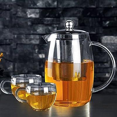 Théière Épaissi résistant à la Chaleur à Haute température en Verre de Grande capacité Pot Transparent en Acier Inoxydable Filtre Bubble Tea Pot 1200 ML 2 Tasses GAODUZI