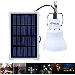Lámparas solares, PRODELI LED Luz Solar Bombilla Recargable Lámpara S-1500 para Iluminación de Emergencia de Exterior e Interior Iluminación de Cobertizo en Jardín Acampada [Actualizado, 150LM 1600mA]