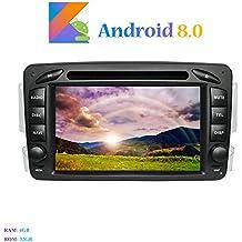 """Hi-azul Android 8.0 Autoradio 2 Din In-dash 7"""" Car Stereo Octa-Core 64Bit RAM 4G ROM 32G Car Radio con 1024 * 600 Touch Screen e Lettore DVD per Mercedes-Benz CLK-W209 C209/ C Class W203/ Viano/ Vito/ A-Class Supporto Navigatore GPS, Bluetooth, WiFi, Mirror-link, Controllo del Volante (Autoradio)"""