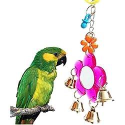 Espejo para pájaro con campanas, juguete para loro, periquito, cacatúa y más