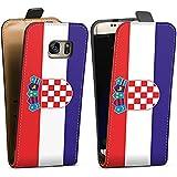 Samsung Galaxy S7 Tasche Hülle Flip Case Kroatien Flagge Fußball