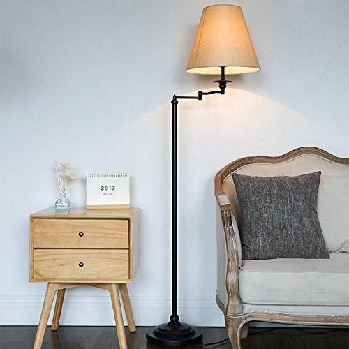 Hyun times Lampadaire en fer forgé tissu américain moderne minimaliste table basse canapé lampe salon lampe de table (Couleur : A)
