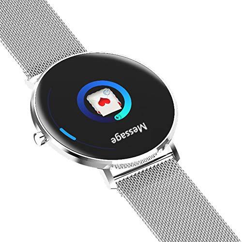 Schrittzähler Smartwatch, Herzfrequenzüberwachung Schlafmonitor Bluetooth Aktivitäts-Tracker wasserdicht sitzende Erinnerung Intelligente Benachrichtigung Alarm Für Android iOS Phone,Silver