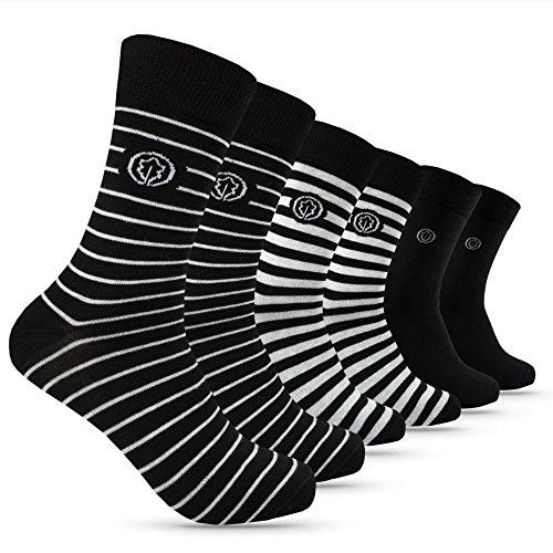 OAKLINE Rebel Stripes Herren Business Socken Schwarz 43-46 Gestreift Streifen bunt 43 44 45 46 Männer Herrensocken 100 Baumwolle 44-46 Gr. Gr Größe Anzug 42-43 42-45 Muster Gummi (6 Paar, 43-46)