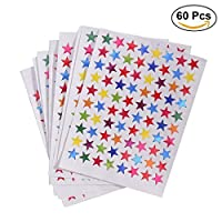 NUOLUX 6 Packs of 1cm Self Adhesive Assorted Color Sparkle Star Stickers Students Rewards Teachers Supplies