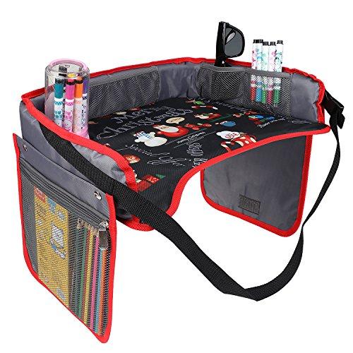 KIPTOP Kinder Auto Knietablett Nette Tierdrucke Sketchpad Multifunktions Reise Tablet Speicher Netzbeutel Esstisch Tablett für Kinder (Schwarz mit Rot Rand) -