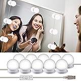 Wesho - Kit di luci LED per specchio di cortesia di Hollywood per trucco, lampada per specchio cosmetico, lampada da toeletta, 10 lampadine LED, specchio non incluso, trucco, bagno