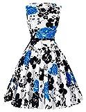 Damen rockabilly kleid ärmellos blumenprint sommerkleid partykleid festliches kleid Größe L CL6086-47