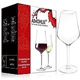 AIMONLIE Rotweingläser, Rotweinglas, 400 ml, 4er Set Weinglas, Klarglas, bleifreies Kristallglas, Hochwertige Qualität, Elegant und bruchbeständig