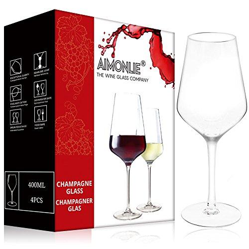 AIMONLIE Rotweingläser, Rotweinglas, 400 ml, 4er Set Weinglas, Klarglas, bleifreies Kristallglas,...