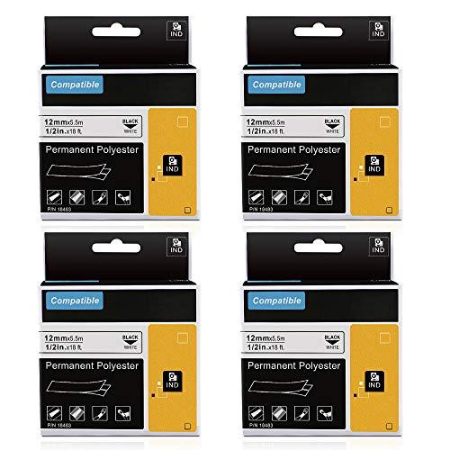 Kompatibel Dymo Rhino 18483, Etiketten für industrielle dauerhafte Polyester, für Dymo LabelWriter und industrielle Etikettenhersteller, Schwarz auf Weiß, 12mm, 4-Pack