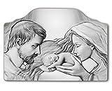Vetrineinrete Quadro con Sacra Famiglia natività per capezzale Camera da Letto su Legno Quadri sacri arredo casa 45x65 cm (Argento) A123