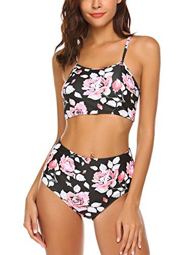 ADOME High Waist Bikini Damen Set Neck Holder Bandeau Blumen Bikinis Sexy Badeanzug Zweiteilig Schwimmanzug Bademode Swimsuit mit Crop Top und Slip, L(EU 40-44), Blumen 1 (Unterstützende Top Tankini)