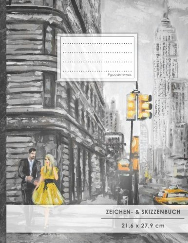 """Zeichen- & Skizzenbuch: DIN A4 • 100+ Seiten, Softcover, Register, """"New York Concept"""" • Original #GoodMemos Blanko Heft • Perfekt als Zeichenheft, Sketchbook, Handlettering"""