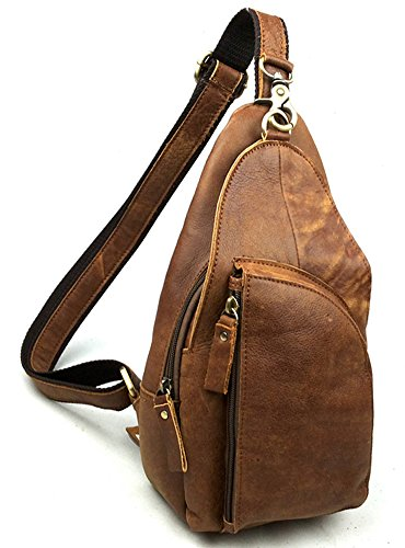 insum Herren Leder Vintage Schultertasche Brust ?Nubuck Leather